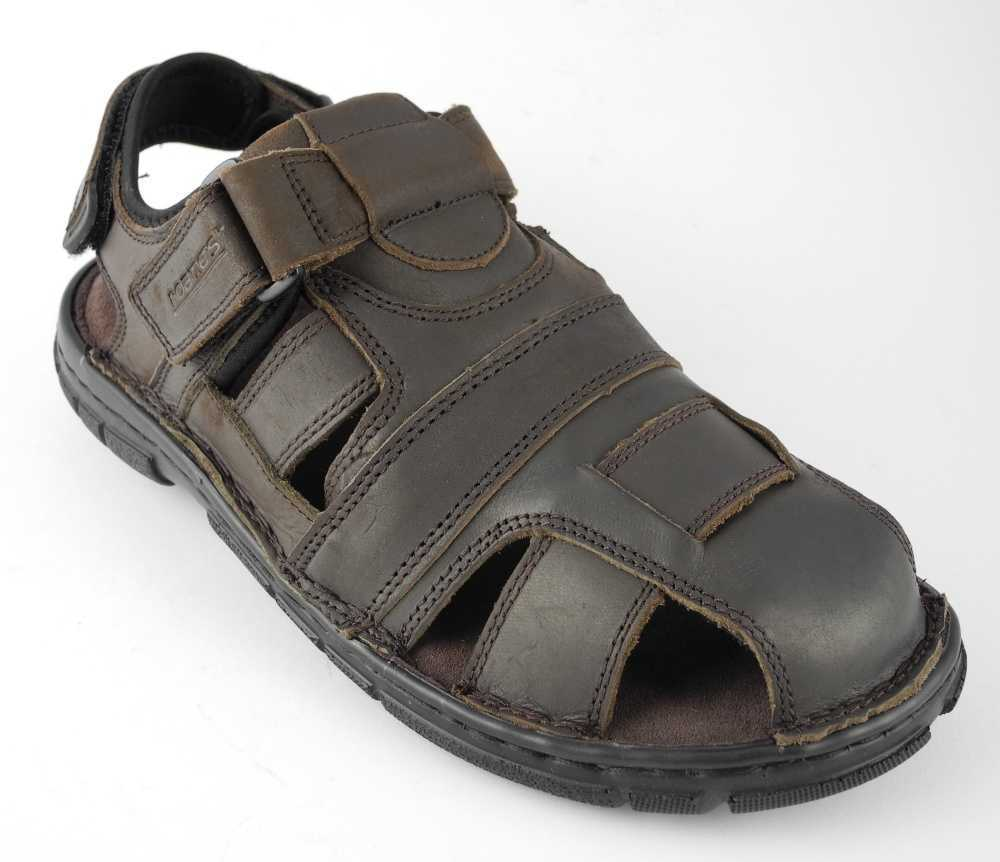 Mens ROAMERS Velcro Leather Sports Hiking Trail Closed Toe Sandals BROWN Sz 6-12 Enlarged Preview